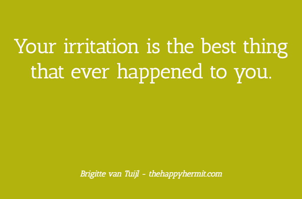 Your irritation is the best thing that ever happened to you.