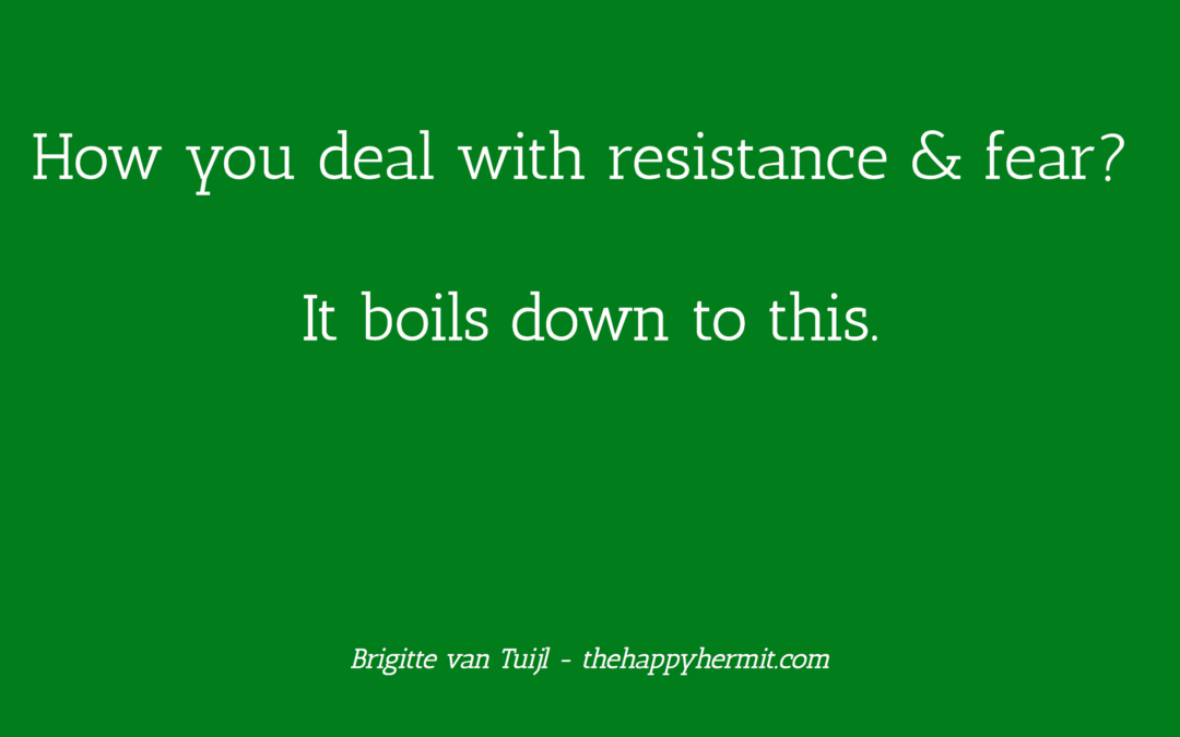How you deal with resistance & fear? It boils down to this.