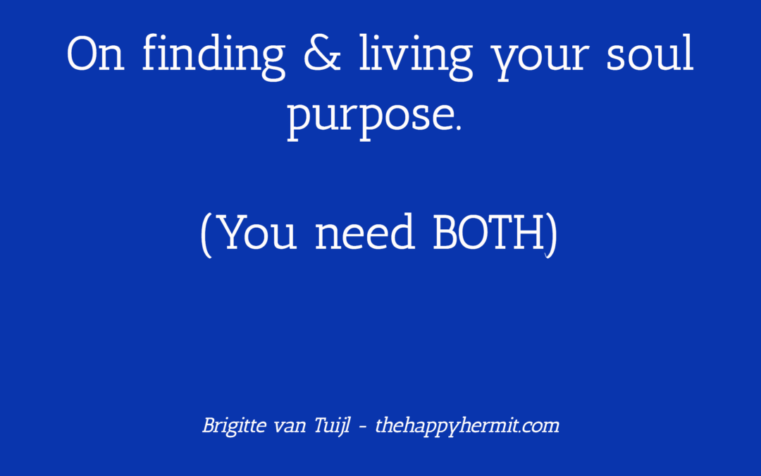 On finding & living your soul purpose. (You need BOTH.)