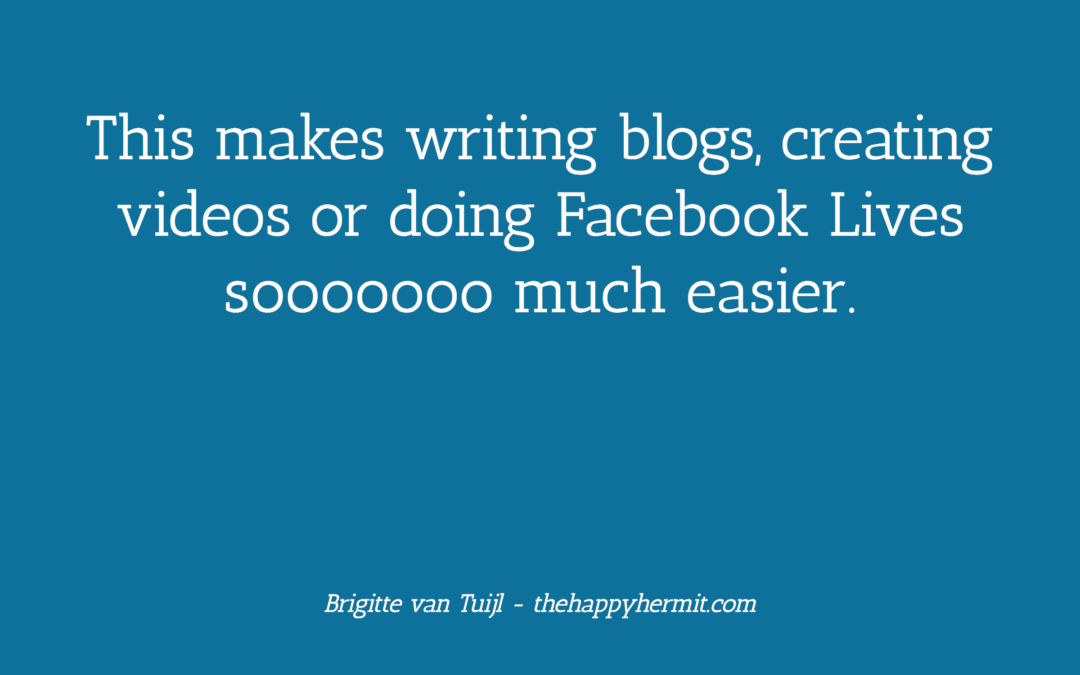 This makes writing blogs, creating videos or doing Facebook Lives sooooooo much easier.