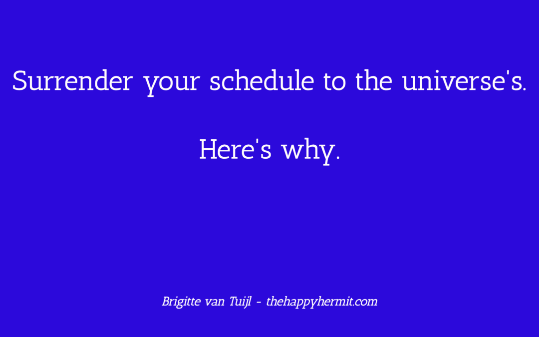 Surrender your schedule to the universe's. Here's why.