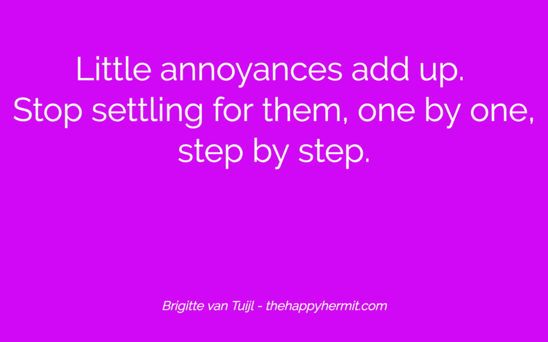 Little annoyances add up. Stop settling for them, one by one, step by step.