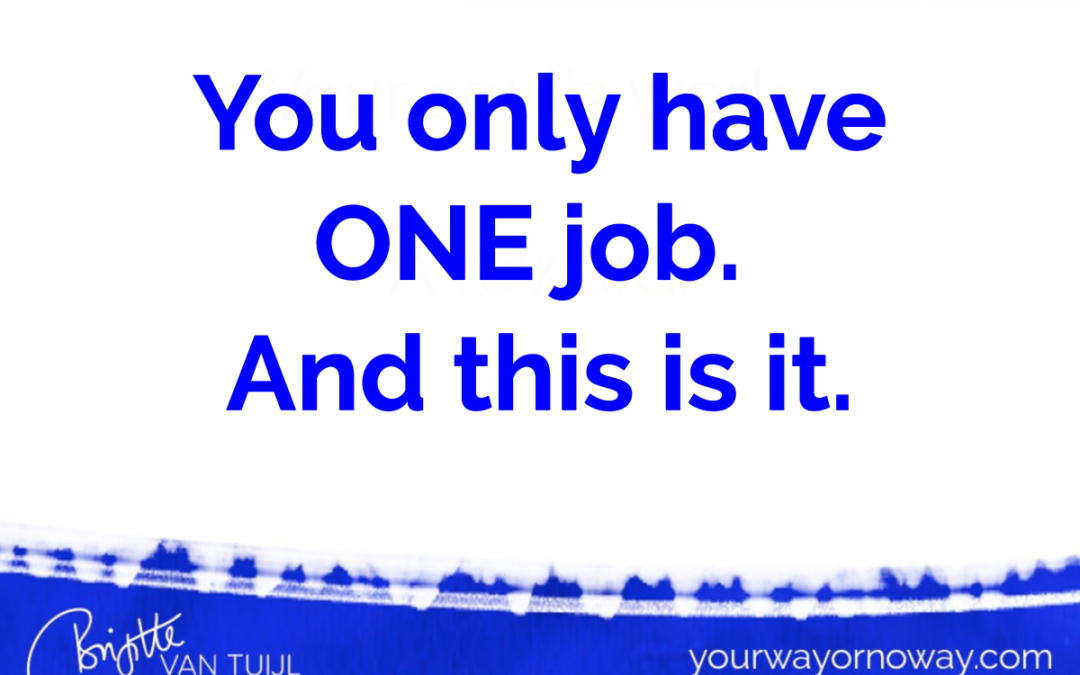 You only have ONE job. And this is it.