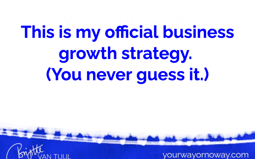This is my official business growth strategy. (You never guess it.)